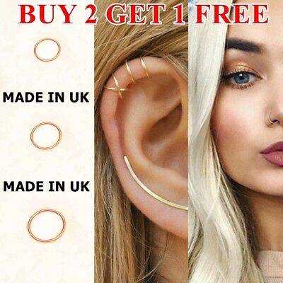 Surgical Steel Open Nose Ring Hoop Lip Ring Small Thin Piercing 7 Colour 3 Sizes