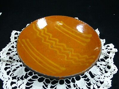 "Greg Shooner Primitive 8 1/4"" Slip Decorated Redware Shallow Bowl Plate 2003"