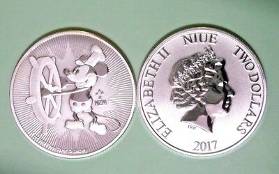2017 2$ Niue Disney Steamboat Willie 1oz Silver Coin