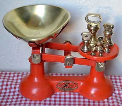 Vintage English Kitchen Scales Red F J Thornton The Viking 7 Brass Bell Weights