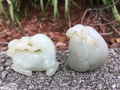 Group Of Two Chinese Qing Period White And Celadon Jade Horse & Antique Pendant