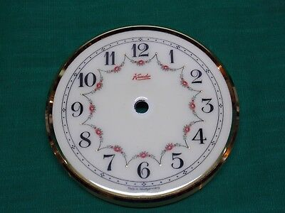 """Vintage 4"""" Kundo porcelain face dial anniversary clock with brass ring. Parts."""