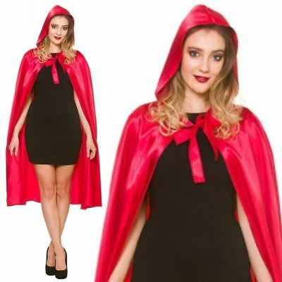 Adult Ladies Unisex Long Red Riding Hood Satin Cloak Cape Halloween Fancy Dress