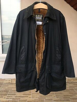 Barbour A205 Men's Vintage Border Navy WAX JACKET + Warm Pile Lining C46/115CM