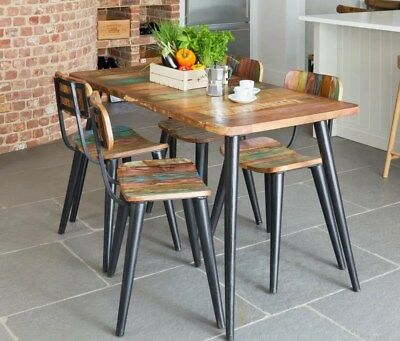 Vintage Industrial Dining Table Solid Rustic Wood Small Furniture Metal Kitchen