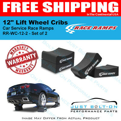 """Race Ramps 12"""" Lift Wheel Cribs Adjustable 6""""+6"""" Stacked - 15.5""""L x 12""""W Set - 2"""