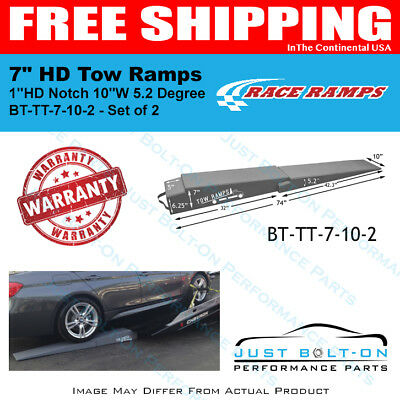 """Race Ramps Flatbed HD 7"""" HD Tow Ramps (2-Piece) 1""""HD Notch 10""""W 5.2 Degree Angle"""