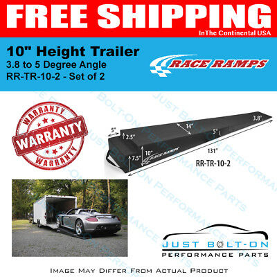 """Race Ramps 10"""" Height Trailer Ramps 3.8 to 5 Degree Angle 131""""L x 14""""W Set of 2"""
