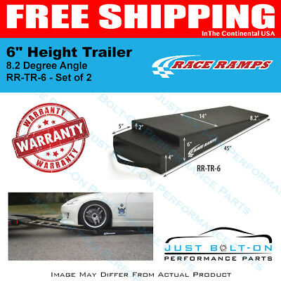 """Race Ramps 6"""" Height Trailer Ramps 8.2 Degree Angle 45""""L x 14""""W Set of 2 RR-TR-6"""