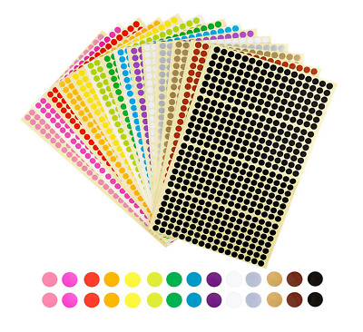 "6664Pcs 1/4"" Round Coding Circle Dot Labels Stickers DIY Crafts 14 Colors 6mm US"