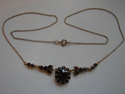 altes Collier mit Granat, Normgold, 54cm