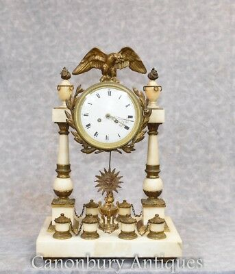 Antique Napolean III Mantel Clock Marble Ormolu Clocks 1880