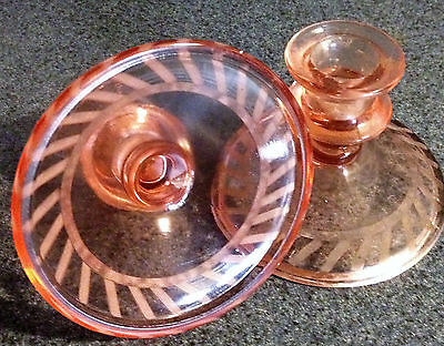 Pair Art Deco Depression Glass Candlestick Holders Liberty Etched Ribbed PINK
