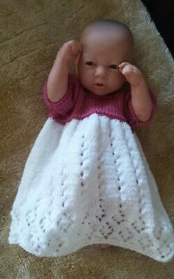 """Dolls clothes pink & white dress for 14 to 18"""" berenguer reborn baby dolls new"""