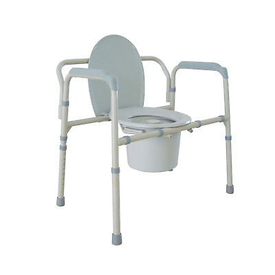Bariatric Folding Bedside Steel Commode Medical Aid Toilet Chair! A2