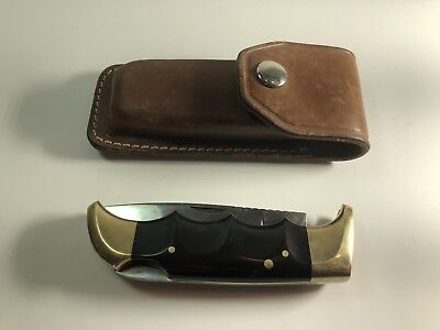 Kershaw 1050 Oregon by Kai Japan Vintage Folding Knife in Leather Sheath