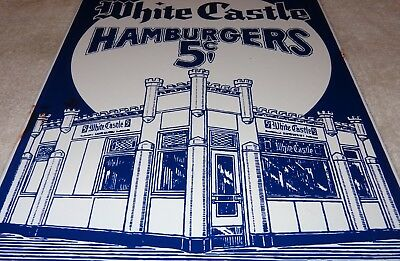 "Vintage White Castle Hamburgers 5 Cents 12"" Porcelain Metal Gasoline & Oil Sign!"