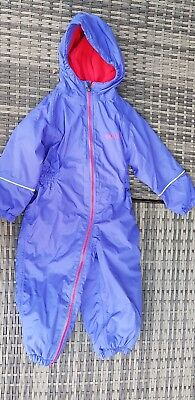 Kids Regatta Waterproof Padded All In One Puddle Suit 18-24 Months