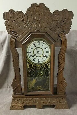 Antique Sessions Working Oak Gingerbread Parlor Mantle Clock w/ key & Pendulum
