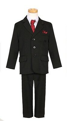Boys Black red tie Pinstripe Suit Toddler Formal 5 Pc set Long tie Wedding 2 3 4