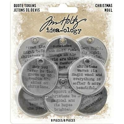 Tim Holtz Idea-Ology - Quote Tokens Christmas - 8 Pieces - NEW!