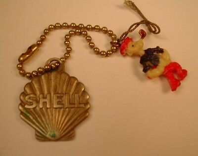 ESTATE FIND Vintage SHELL Gas Station Metal Key Chain w Popeye Celluloid Charm