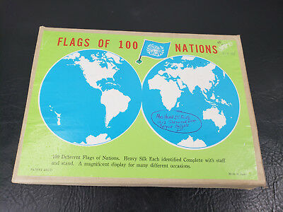 Vintage United Nations Flags of 100 Nations Silk Miniature Flags Set With Bases