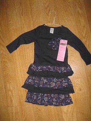 Nwt Mustard Pie Girl's Navy / Brown Fall Ruffled Floral Dress Size 3T New