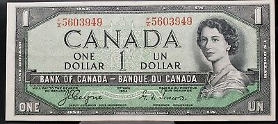 1954 Bank of Canada $1 - Devil's Face - Coyne/Towers