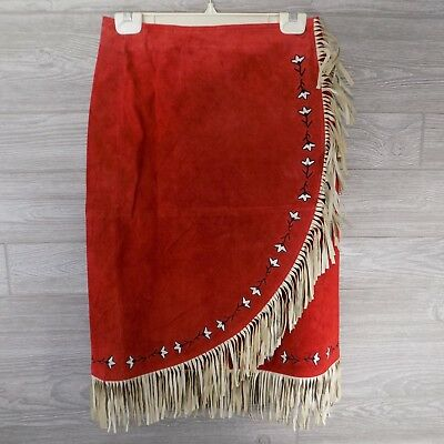 Red and White Fringed Suede Western Skirt Size S/M Cowgirl