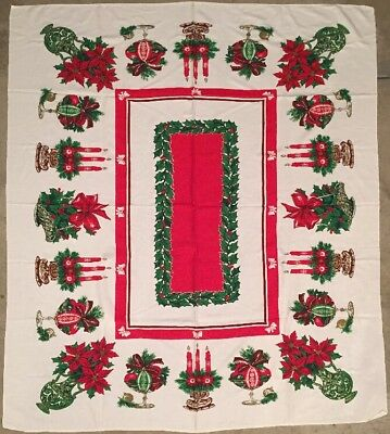 Vintage Startex Tablecloth Christmas Holiday Pattern