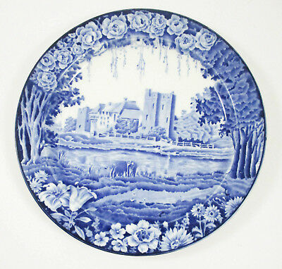 """Set 4 Enoch Woods CASTLES 10"""" Plates Blue Transfer Stokesay Wood & Sons England"""