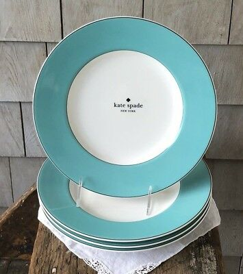 kate spade LENOX Rutherford Circle Turquoise Salad Plates Set of 4 ~ New