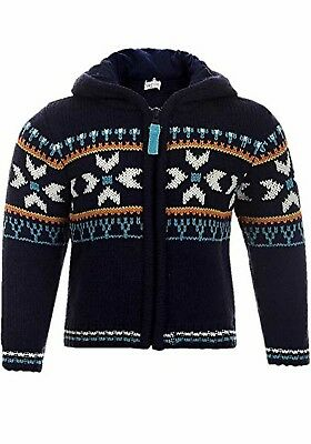 BABALUNO boys babies kids FAIR ISLE hooded jumper sweater 0-3-6-9- 12-18-24 blue