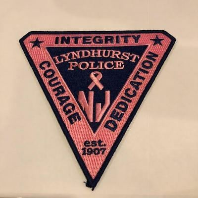 Lyndhurst Pink Patch Project Breast Cancer NJ New Jersey Police Patch Bergen Cou