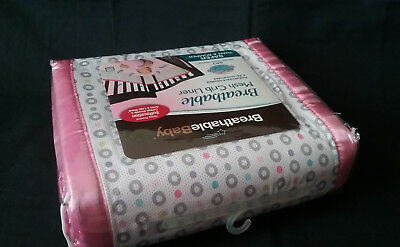 NEW BreathableBaby Breathable Mesh Crib Liner Geo Girl Pink White Grey Baby Girl