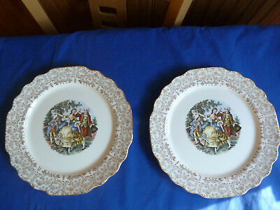 LIDO W S George White  PLATES with 22 Karat Gold Trim Set of 4)