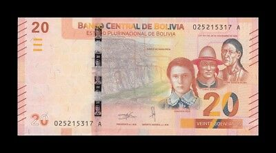 BOLIVIA 20 BOLIVIANOS 2018. PICK NEW. SC. UNC. (Uncirculated)