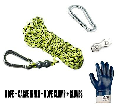 Rope Magnet fishing 6mm 8mm 10mm / 10M 20M 50M 100M + WATERPROOF GLOVES + CLAMP