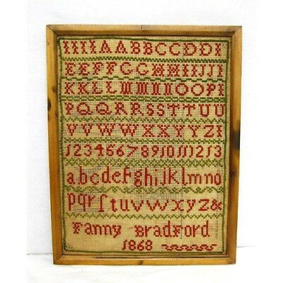 Beautiful Antique Vintage Victorian Framed Alphabet Sampler Fanny Bradford 1868.