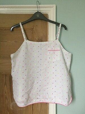 Marks & Spencers White Pyjama Top Bright Neon Spotted Size Age15-16 Or Ladies 12