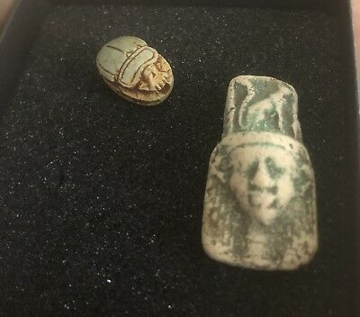 Ancient Egyptian Faience Amulet Figurine, 700-400 BC with Scarab Included.