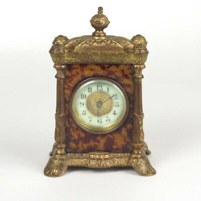 Antique clock brass faux tortoise shell British United Co parts or repair