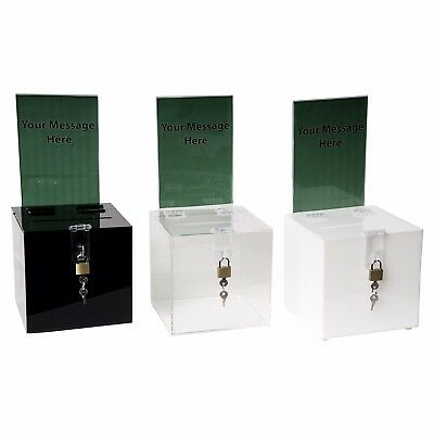 Clear-Ad - SBB-1212-H - Acrylic Donation Box with Lock and Sign Holder - Plastic