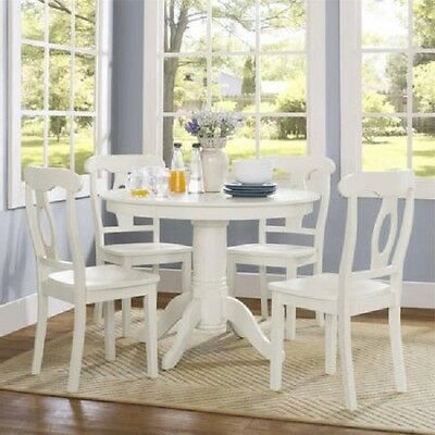Farmhouse Dining Room Set Table Round Pedestal Chairs White 5 Pc Wood Kitchen