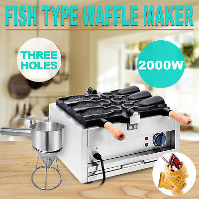Commerical Taiyaki Fish Waffle Maker Machine With Funnel 2000W Ice Cream CE