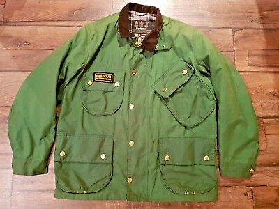 Vintage Barbour International Jacket Waxed Motorcycle Jacket Green size XL