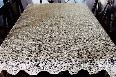 "Large Vintage Handmade Hand Crochet Table Cloth 58"" X 70"" Star Pattern, Ecru"