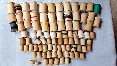 90 Vintage Wooden Sewing Thread Spools ~Empty~Assorted Sizes~Crafts