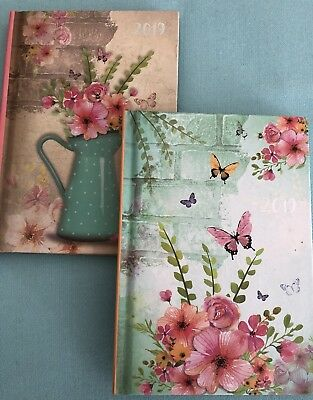 2019 A6 Diary  Week To View - Butterfly Or Flower Design - Free Postage